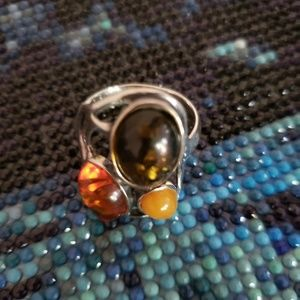 Authentic Baltic 3 color Amber silver ring